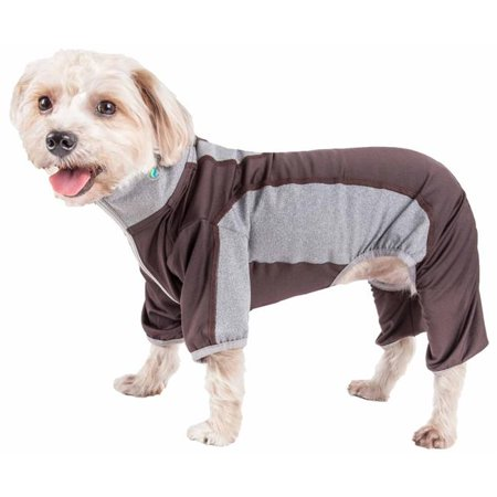 Pet Life YGHL3BKXL Active Warm-Pup Heathered Performance 4-Way Stretch Two-Toned Full Bodied Track Suit - Brown & Grey, Extra Large - image 1 of 1