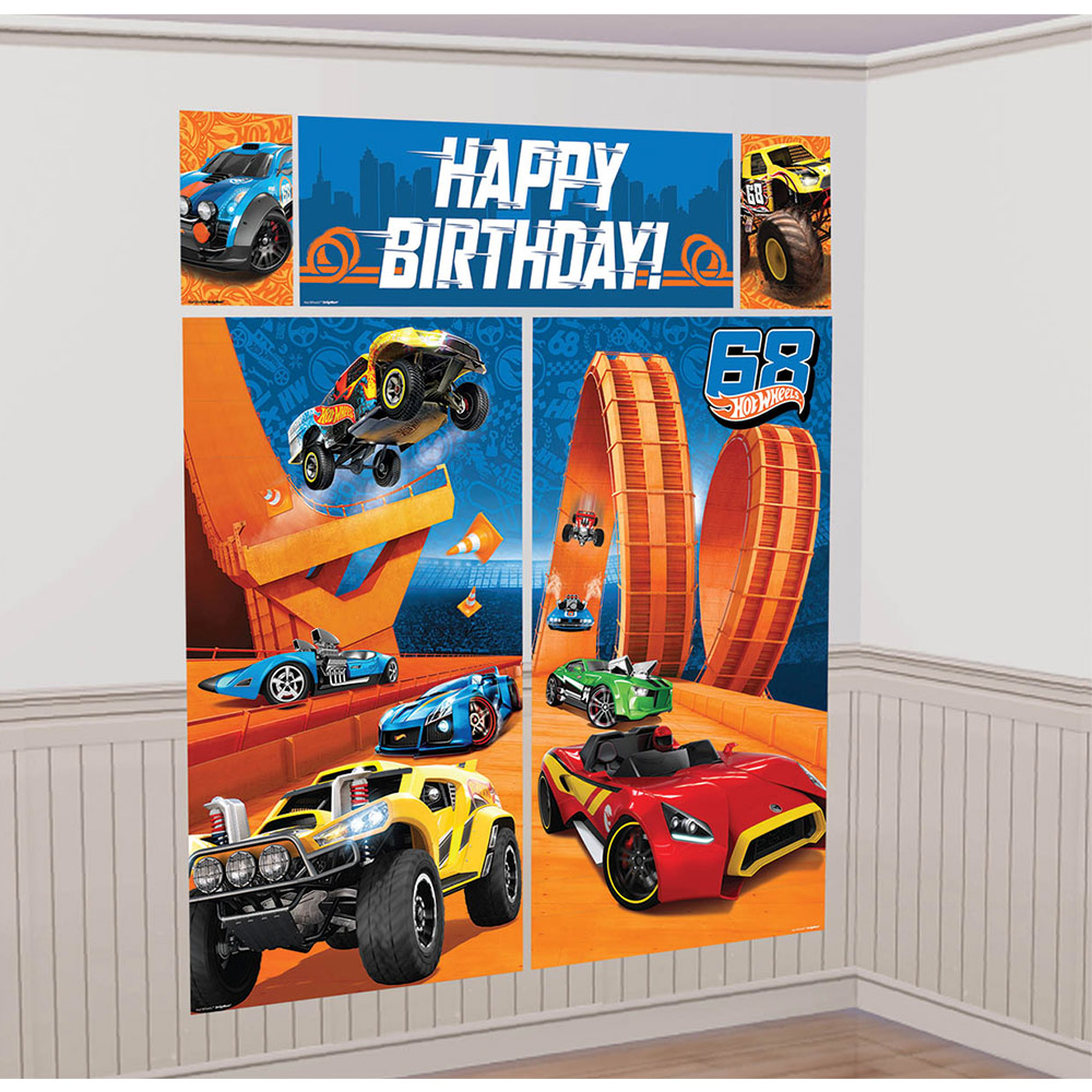 Hot Wheels Wild Racer Scene Setter Wall Decorating Kit (Each) - Party Supplies