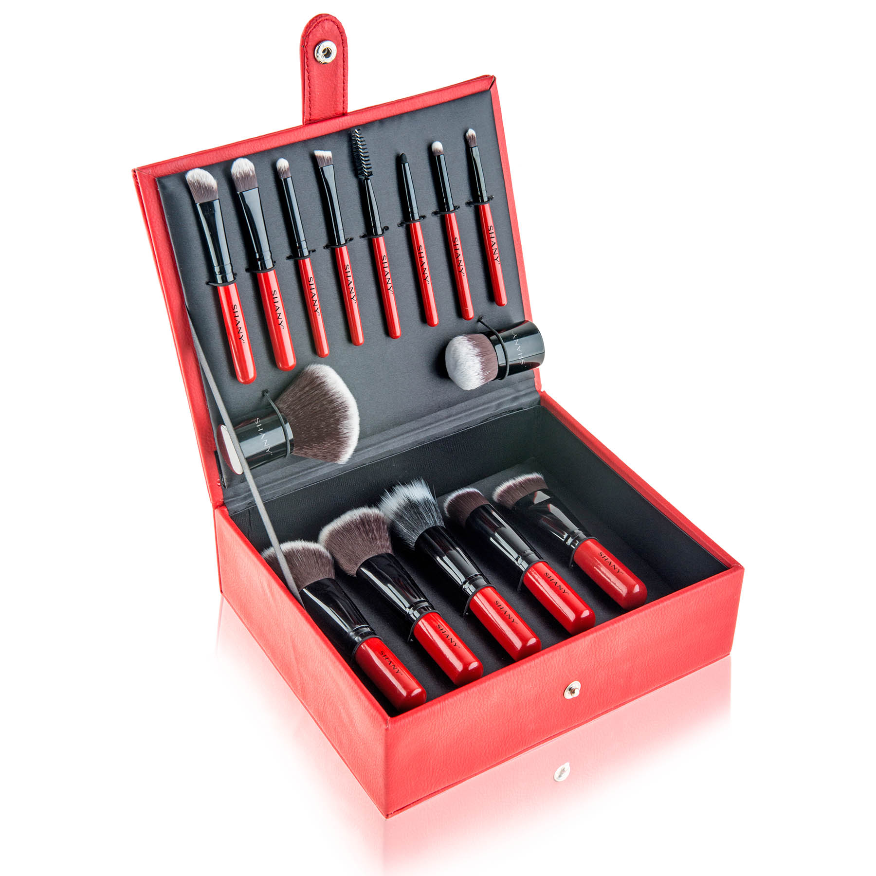 SHANY Vanity Vox- 15 Pc Premium Cosmetics Brush Set with Stylish Storage Box and Stand