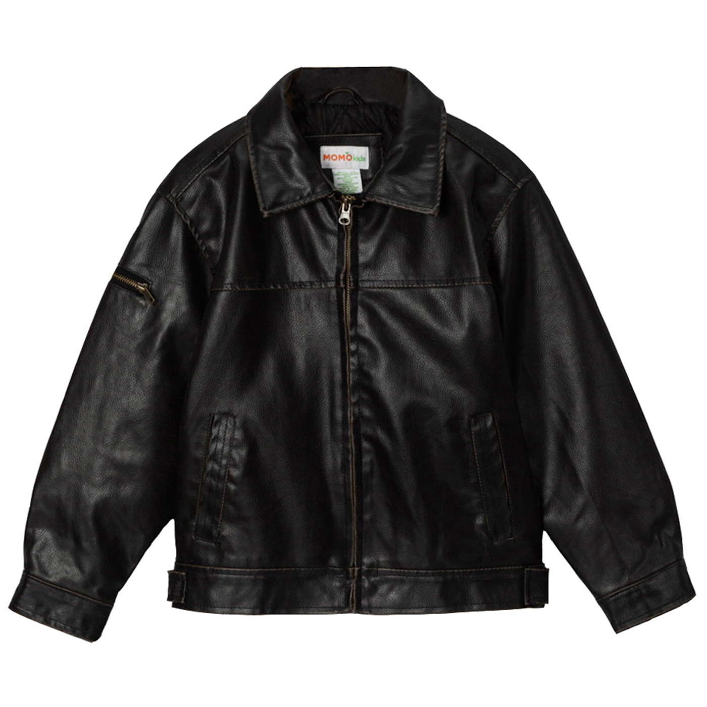 Momo Grow Big Boys Faux Leather Flight Bomber Jacket (XS & XL)