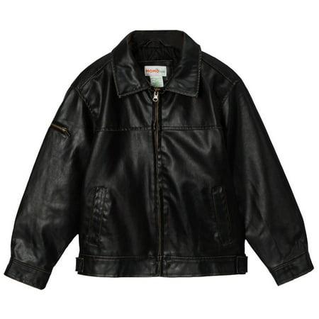 Momo Grow Big Boys Faux Leather Flight Bomber Jacket (XS & XL) ()