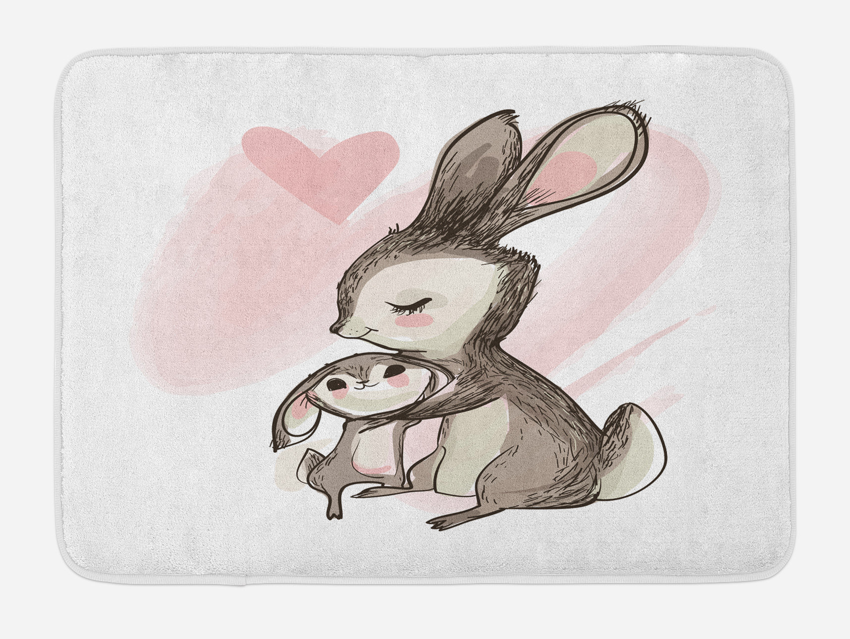 Kids Bath Mat, Sketch Artwork of a Young Bunny with His Mom Happy Mother`s Day Theme,... by 3decor llc