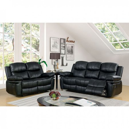 Transitional Look Black Leather 2piece Sofa Set Recliners Living Room  Furniture
