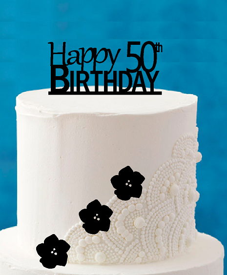 Peachy Happy 50Th Birthday 5 X 4Inch Number Elegant Cake Topper Personalised Birthday Cards Veneteletsinfo