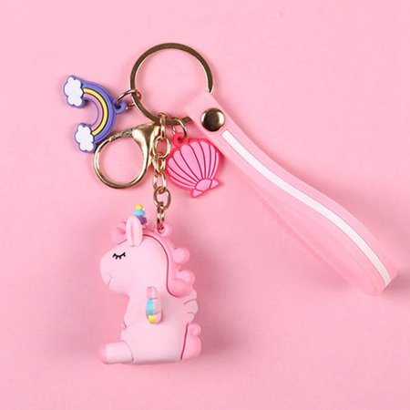 TURNTABLE LAB Pink Girl Heart Unicorn Keychain Pendant Cartoon Creative Schoolbag Key Chain
