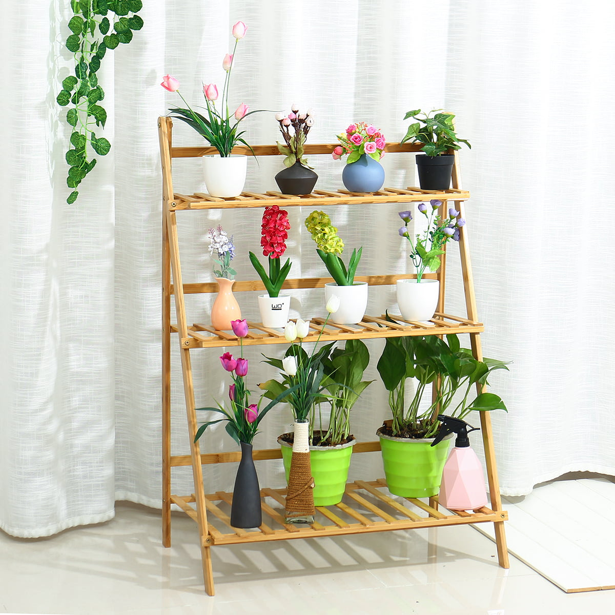 27.5Inch High 3 Tier Wood Hanging Folding Plant Shelf ... on Plant Stand Hanging  id=35810