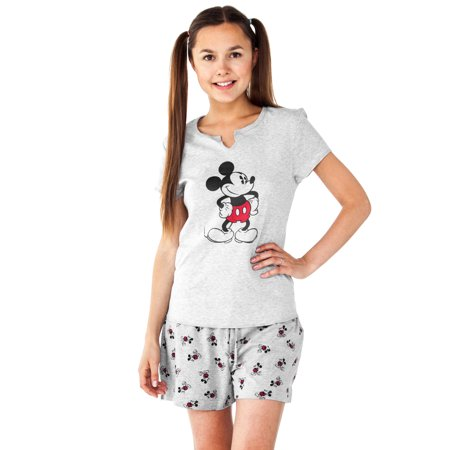 Juniors Mickey Mouse 2-Piece Pajama Sleep Set Top & Shorts - Mickey Mouse Pajamas