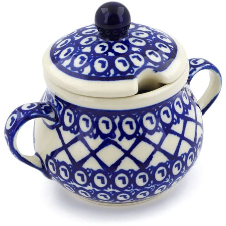 Polish Pottery 7 oz Sugar Bowl (Lattice Peacock Theme) Hand Painted in Boleslawiec, Poland + Certificate of Authenticity