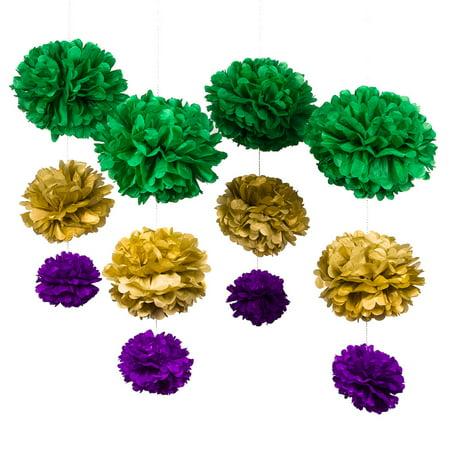 PaperLanternStore.com 12-pc Cinco de Mayo Green Carnaval EZ-Fluff Tissue Paper Pom Poms Flowers Decoration Party Pack by Fantado](Cinco De Mayo Table Decorations)