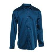 INC NEW Dark Teal Blue Mens Size Small S Button-Front Woven Dress Shirt