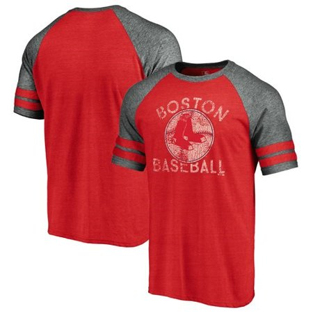 Boston Red Sox Fanatics Branded Cooperstown Collection Earn Your Stripes Two-Stripe Raglan T-Shirt - Red/Gray