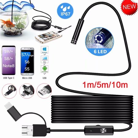3-in-1 7mm 6 LED Type C Micro USB Endoscope Inspection Camera Soft Cable for Android PC 1M Micro Explorer Inspection Camera