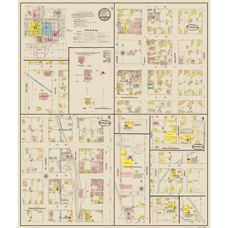 Old City Map - Bloomington Indiana Landowner - Sanborn 1887 - 23 x 27.19 (Party City Bloomington In)