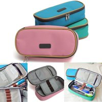 Large Capacity Multifunction Pencil Case Cute Girl Canvas Mesh Student Pen Bags Pouch Box Stationery Pouch Pocket Cosmetic Makeup Bag,Pink color