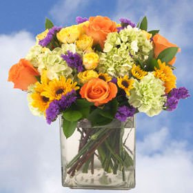 GlobalRose 25 Fresh Cut Flowers Bouquet with Vase - Fields of Europe Bouquet - Fresh Flowers Wholesale Express (Bouquet Of Flowers)