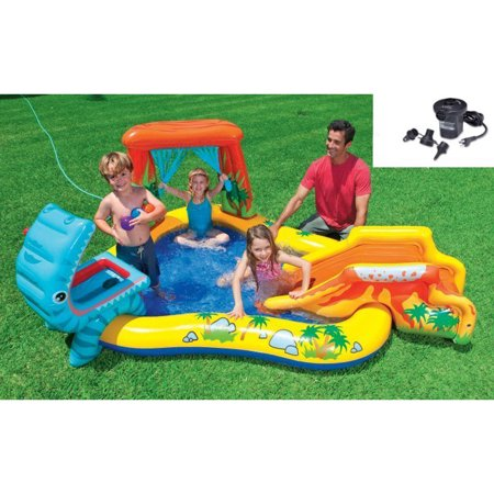 Intex Dinosaur Play Center Inflatable Kids Swimming Pool + Quick Fill Air Pump - Kids Blow Up Pool