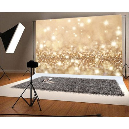 HelloDecor Polyster 7x5ft Photography Backdrop Champagne Gold Blured Boken Star Glitter Sparkle Scene Photo Background Children Baby Adults Portraits