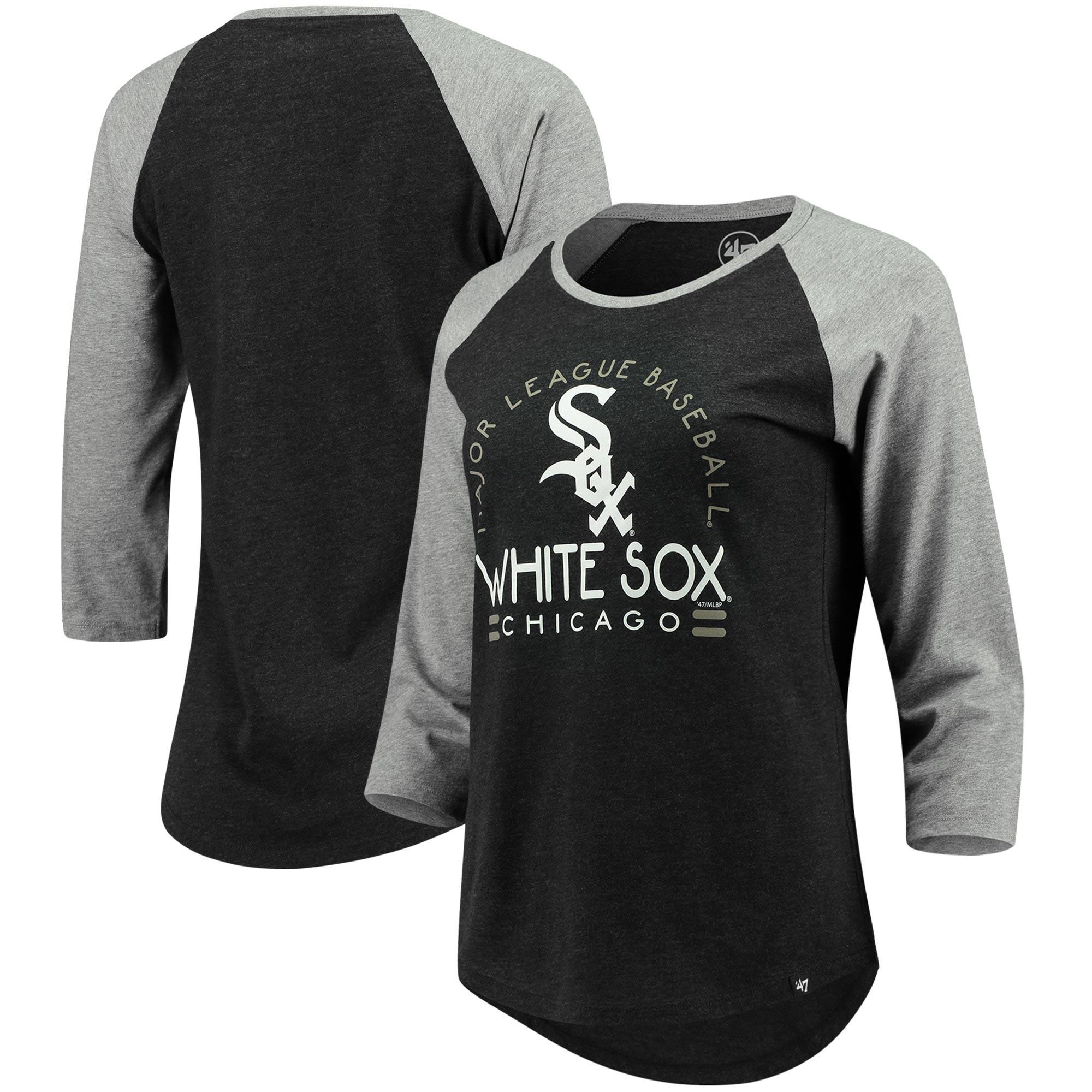 Chicago White Sox '47 Women's Club 3/4-Sleeve Raglan T-Shirt - Heathered Black