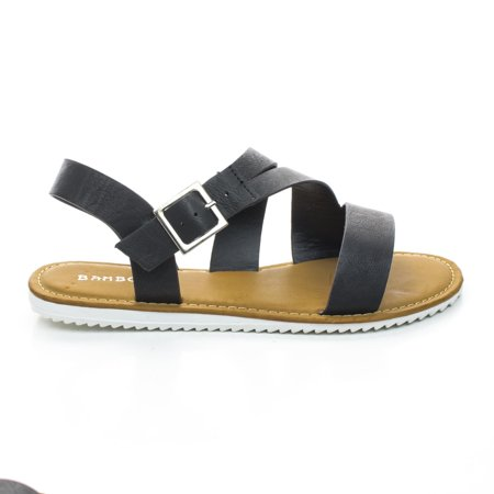 Reef Rubber Sole Sandals - Hearten12 by bamboo, Flat Treaded Rubber Sole Sandal w Ankle Strap Support