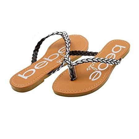 bebe Girls Braided Glitter Strap Thong Flip Flop Sandals Size - Braided Strap Thong