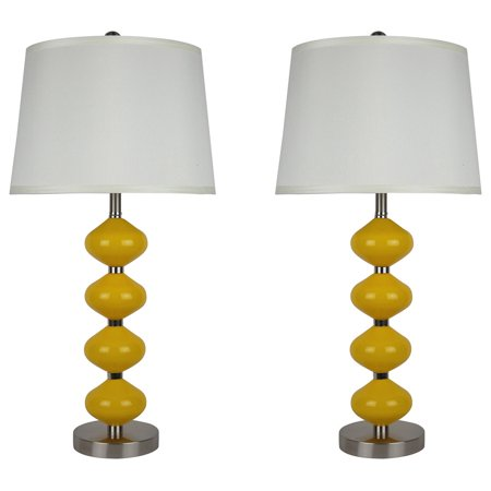 Urbanest Set of 2 Beautor Lamps, Brushed Steel & Yellow Glass with Cream