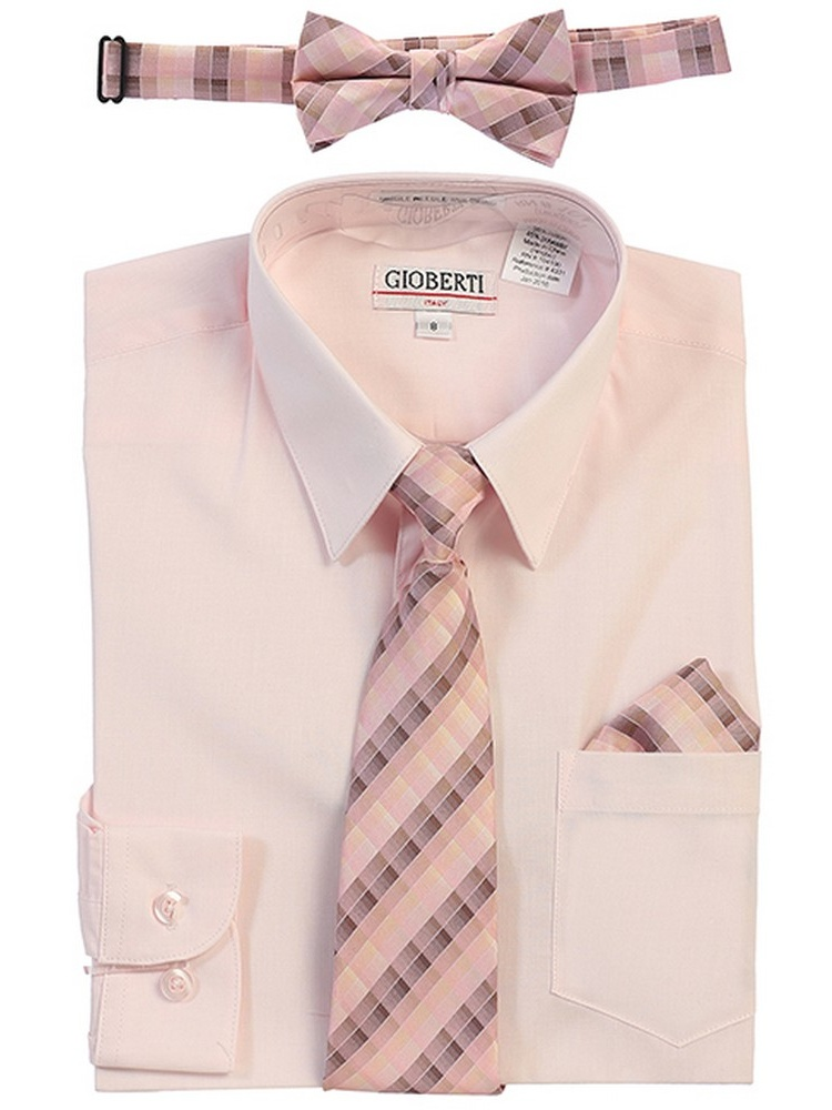 Gioberti Little Boys Pink Tie Bow Tie Handkerchief Dress Shirt 4 Pc Set