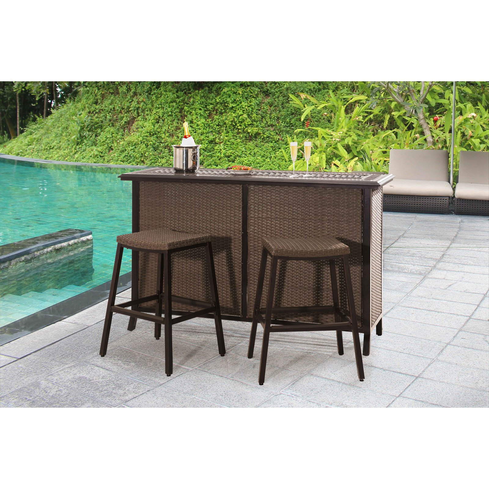 "Sunjoy 110214002 Tulsa 73"" x 24"" x 43"" Aluminum and Wicker Bar Set"