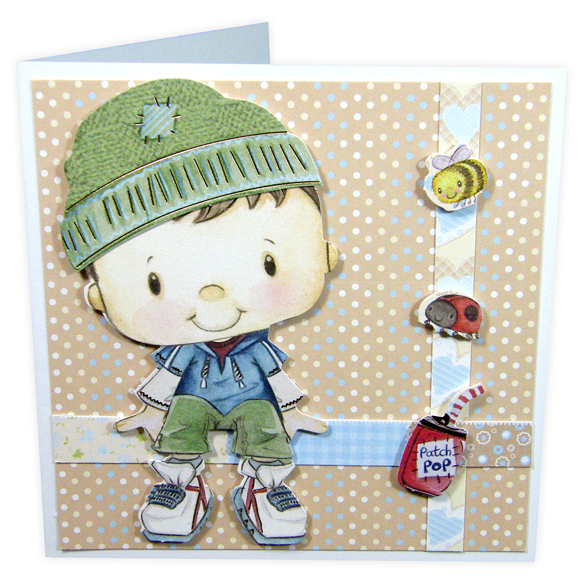 Patchwork Pals Luxury Card Making Kit 13 Pieces-Billy Blue/Beige