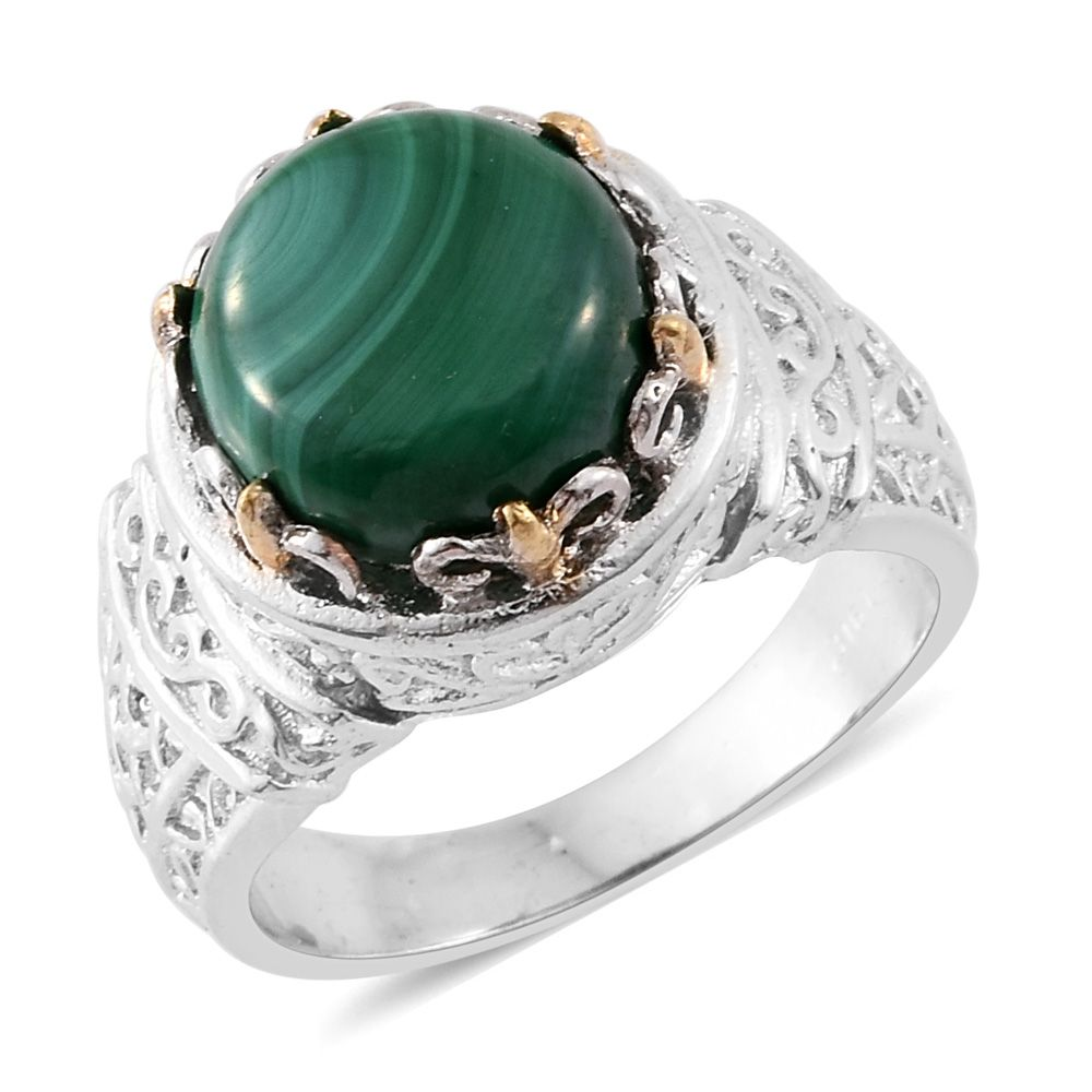 Malachite ION Plated YG and Stainless Steel Ring 6.29 cttw.