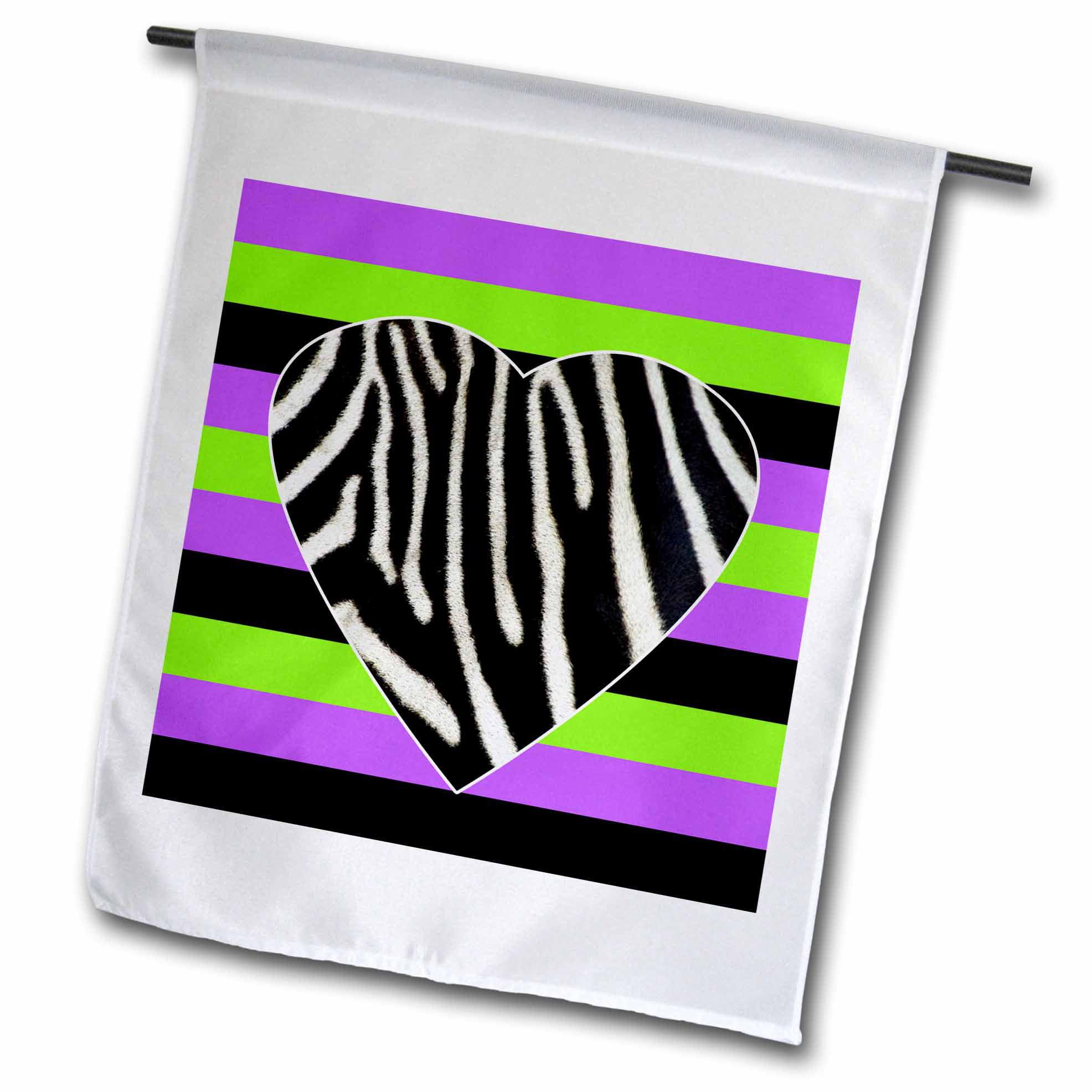 10 by 10-Inch 3dRose Punk Rockabilly Zebra Heart Purple Green Black Print Wall Clock