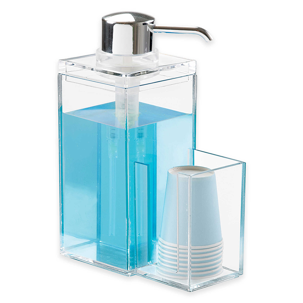 OnDisplay Luxury Acrylic Mouthwash/Soap Pump Dispenser w/Cup Holder ...