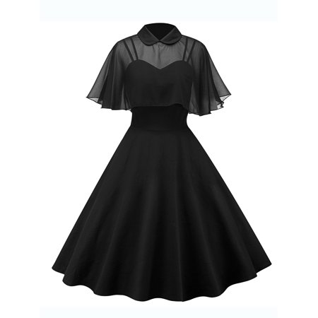 Vintage Swing Dresses for Women Retro 1950s 60s Rockabilly Evening Cocktail Party Pinup Straps Homecoming Dress + Cloak - 60s Dress Up