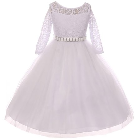 Little Girl Formal Communion Wedding Bridesmaid Party Girl Dress USA White 2 MBK 372 BNY - Communion Dresses Usa
