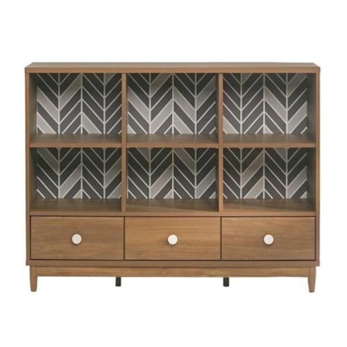 Sauder Soft Modern 6 Cubby Bookcase in Fine Walnut