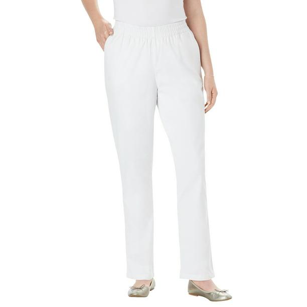 chino work pants womens : Woman Within Women's Plus Size Elastic-Waist Straight Leg Chino Pant Pant