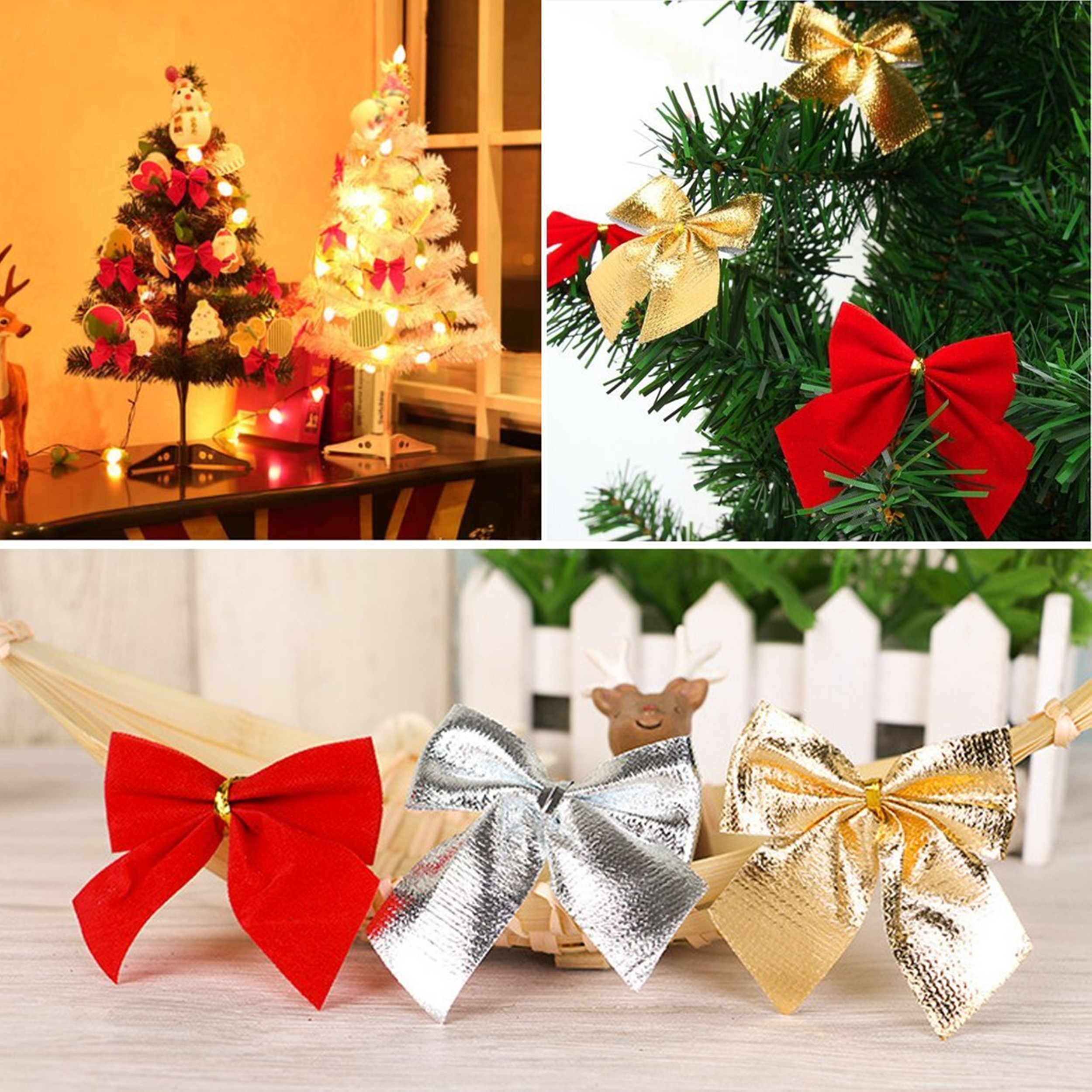 essential christmas tree ribbon bows bowknots christmas ornament decoration for holiday christmas wedding party decoration red gold silver