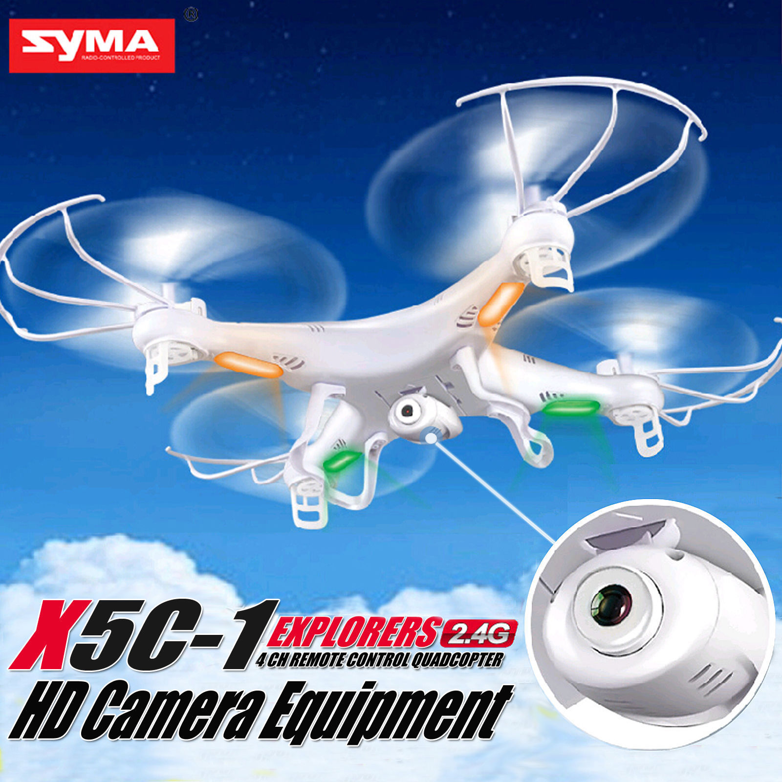 Syma X5C-1 Explorers 2.4Ghz 4CH 6-Axis Gyro RC Quadcopter Drone w  HD Camera by OUTAD