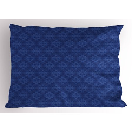 Navy Blue Pillow Sham Antique Baroque Damask Inspired Motifs Abstract Flowers Ornamental Victorian Garden, Decorative Standard Size Printed Pillowcase, 26 X 20 Inches, Blue, by Ambesonne