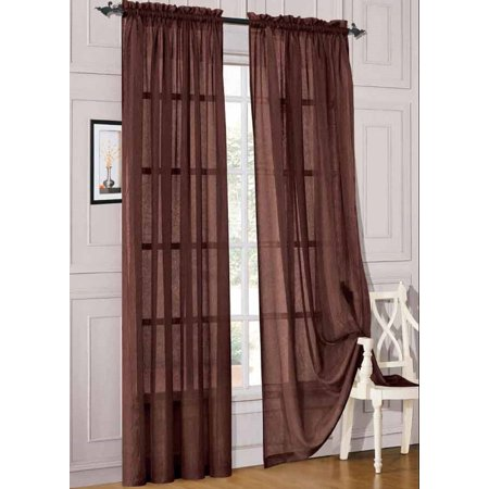2pc Brown Solid Sheer Voile Window Curtain Set, Two (2) Rod Pocket Panels 55