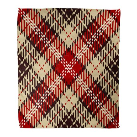 LADDKE Flannel Throw Blanket Wool Tartan Red White Black and Camel Beige Plaid Pattern Printing Flannel Patterns Tiles for Abstract 50x60 Inch Lightweight Cozy Plush Fluffy Warm Fuzzy Soft