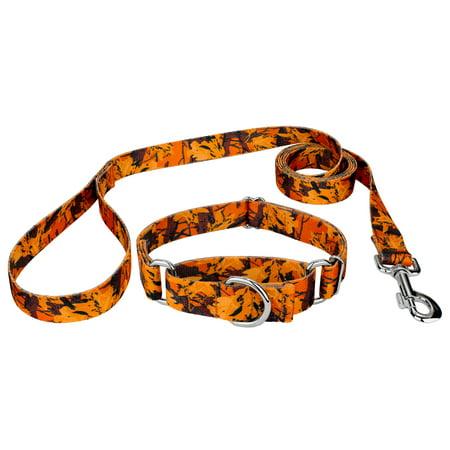 Country Brook Design® Orange Sunset Camo Martingale Dog Collar &
