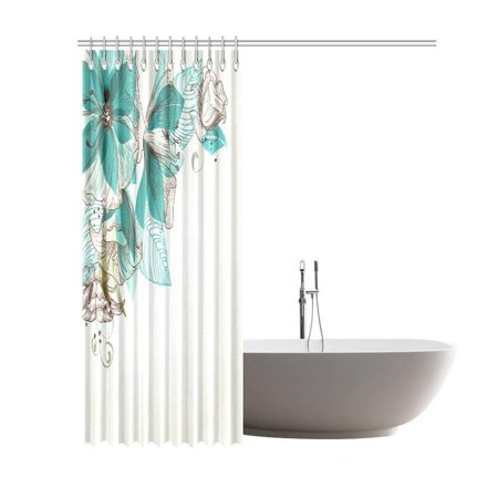 GCKG Turquoise Flower Shower Curtain Floral Decor, Vintage Style Flowers Buds with Leaf Retro Art Season Celebration Print Fabric Bathroom Set with Hooks, 66x72 Inches, Teal Brown - image 1 de 2