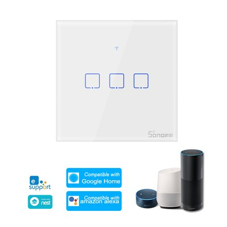 T0EU3C-TX 3 Gang Smart WiFi Wall Light Switch APP/Touch Control Timer Panel Home Automation Compatible with Home/Nest & ()