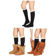 GILBIN'S Women's Fashion Long Boot Socks Stretchy Over Knee High Stockings with Lace Trim (Black With White Trim)