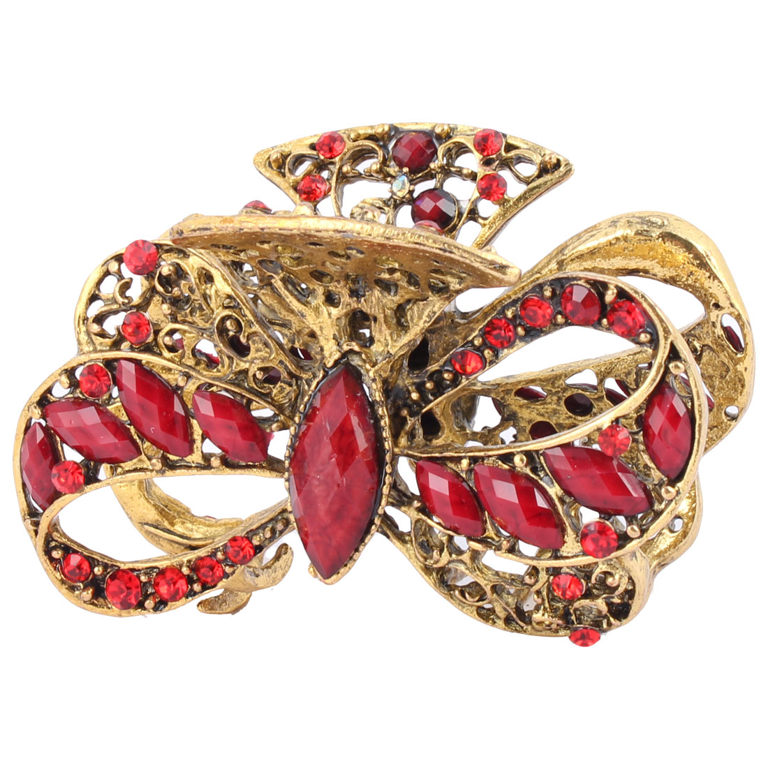 Woman Faux Rhinestone Decor Hollow Out Claw Hairstyle Hair Clip Barrette Red