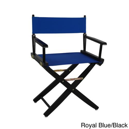 Extra-Wide 18-inch Premium American Oak Directors Chair Royal Blue, Black Frame