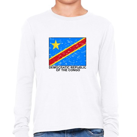 Democratic Republic of the Congo Flag - Special Vintage Edition Girl's Long Sleeve T-Shirt
