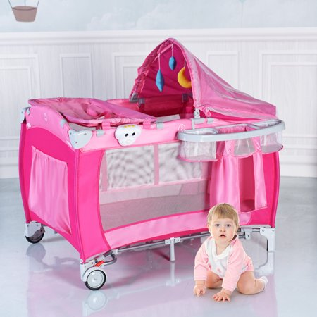 Costway Foldable Baby Crib Playpen Travel Infant Bassinet ...