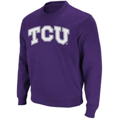 Stadium Crew Sweatshirt - TCU Horned Frogs Stadium Athletic Arch & Logo Crew Pullover Sweatshirt - Purple