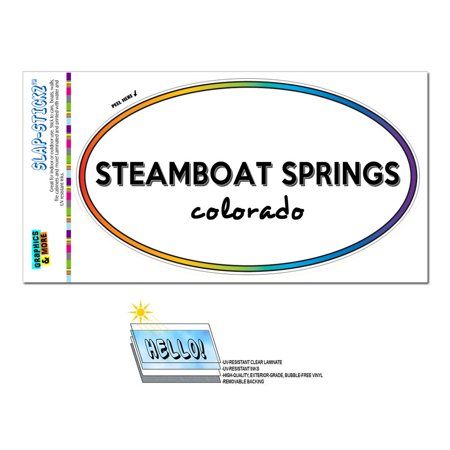 Steamboat Springs, CO - Colorado - Rainbow - City State - Oval Laminated Sticker (Party City In Colorado Springs)